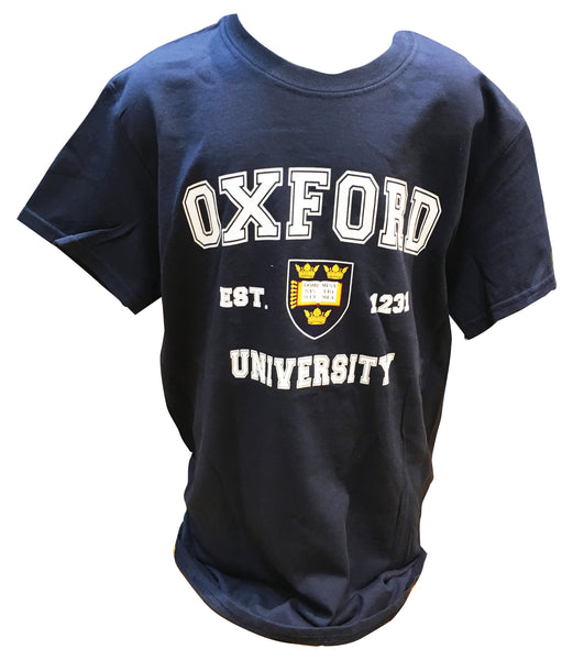 Oxford University - Navy Blue - Colour Crest Printed T-shirt - Official apparel of this famous Institution