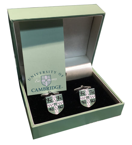 Cambridge University Cufflinks - with green crest - Official Licenced product