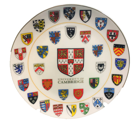 Cambridge University Ceramic Plate - 10cm Official  with stand and gift box - Displays Cambridge University Shield and all 31 College shields - 10cm