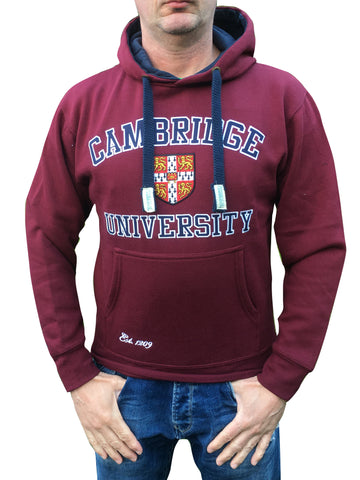 Cambridge University Embroidered Hoodie - Burgundy - Official Apparel