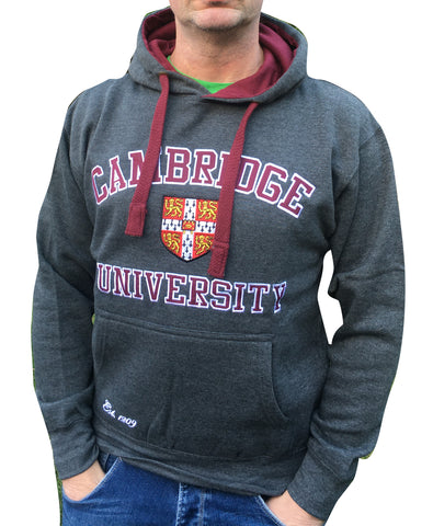 Cambridge University Embroidered Hoody - Charcoal - Official Apparel of the Famous University...