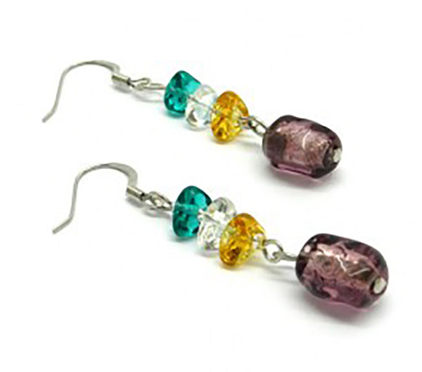 Murano Glass Earrings - Mod. Asola, 12x8 mm - Amethyst - 925 Sterling Silver