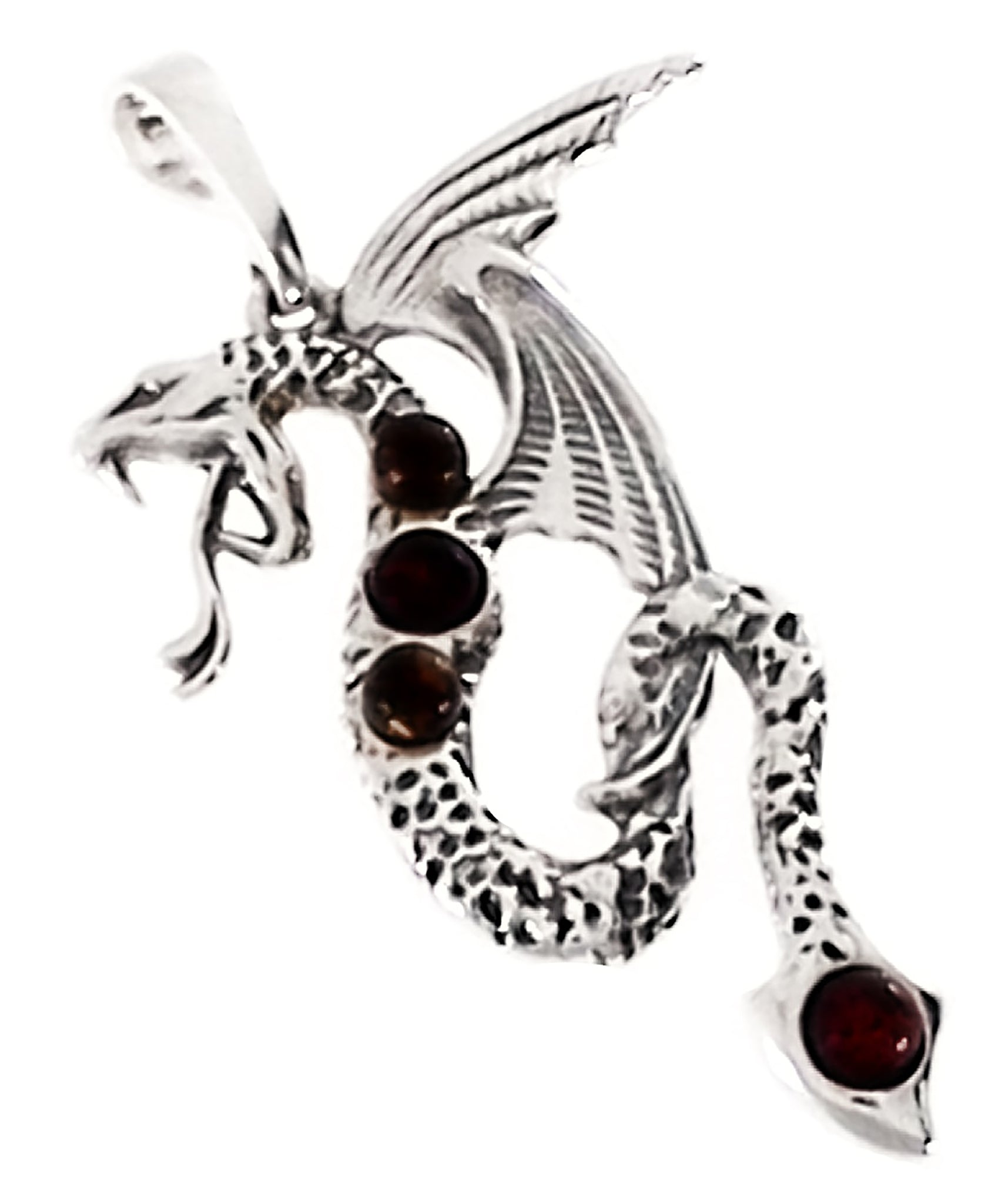 Genuine Baltic Amber Dragon Pendent - 925 Sterling Silver