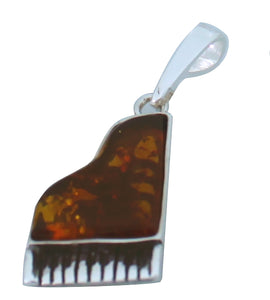 Genuine Baltic Amber - Piano Pendent - 925 Sterling Silver