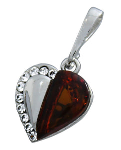 Genuine Baltic Amber - Heart Pendent - 925 Sterling Silver