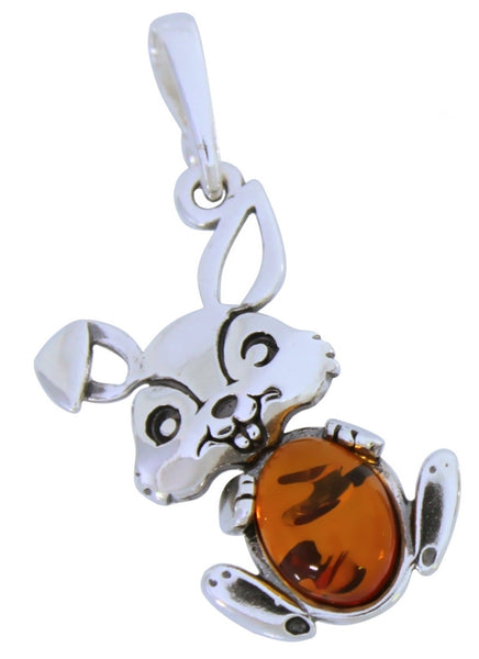 Genuine Baltic Amber - Bunny Pendant - 925 Sterling Silver