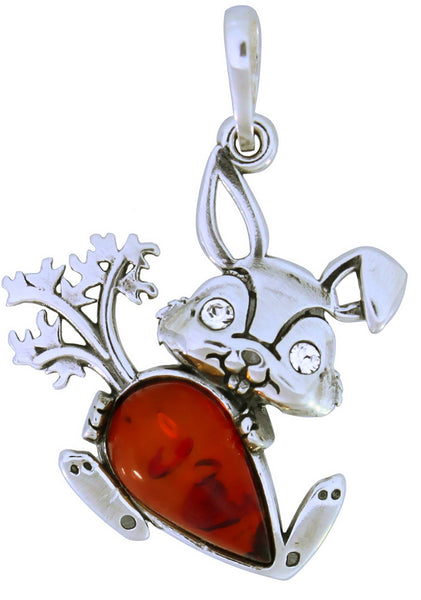Genuine Baltic Amber Bunny Pendent - 925 Sterling Silver