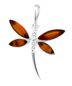 Genuine Baltic Amber Dragonfly Pendent - 925 Sterling Silver