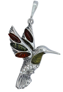 Genuine Baltic Amber Bird Pendent - 925 Sterling Silver