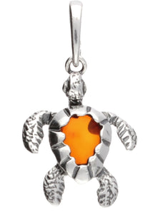 Genuine Baltic Amber - Turtle Pendent - 925 Sterling Silver