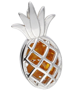 Genuine Baltic Amber - Pineapple Pendent - 925 Sterling Silver