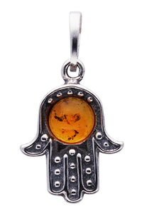 Genuine Baltic Amber - Hand Pendent - 925 Sterling Silver