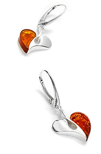 Genuine Baltic Amber - Heart Earring - 925 Sterling Silver