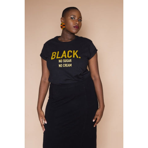 Black. No Sugar No Cream ® womens Black and Gold T-Shirt