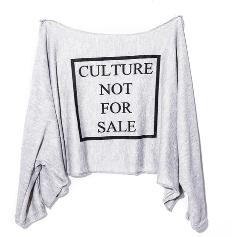 Culture Not For Sale Oversized Crop Sweater Small- 3XL