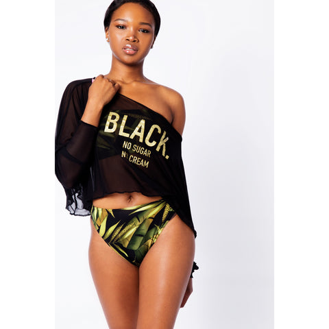 Black. No Sugar No Cream ® Mesh Crop top Black and Gold