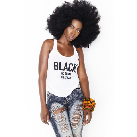Black. No Sugar No Cream ® Racerback Tank Top