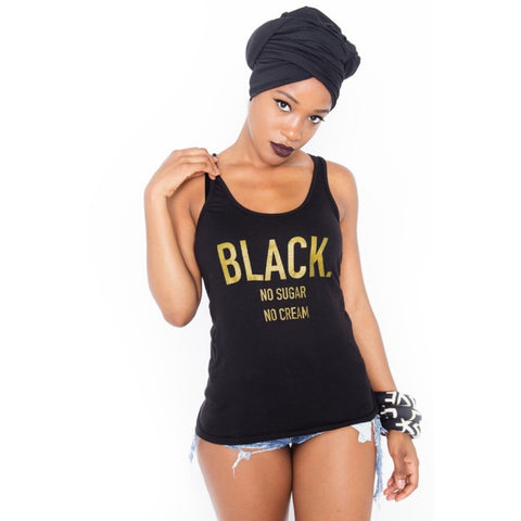 Black. No Sugar No Cream ® Black and Gold Racerback Tank Top