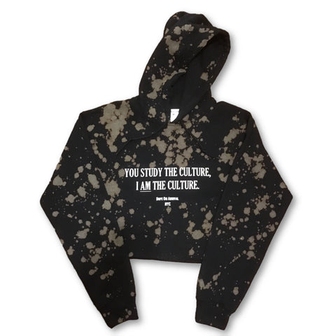 I AM The Culture Black Acid wash Crop Hoodie