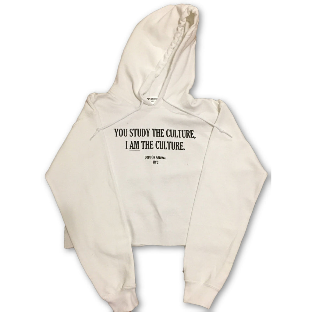 I AM The Culture White Crop Hoodie