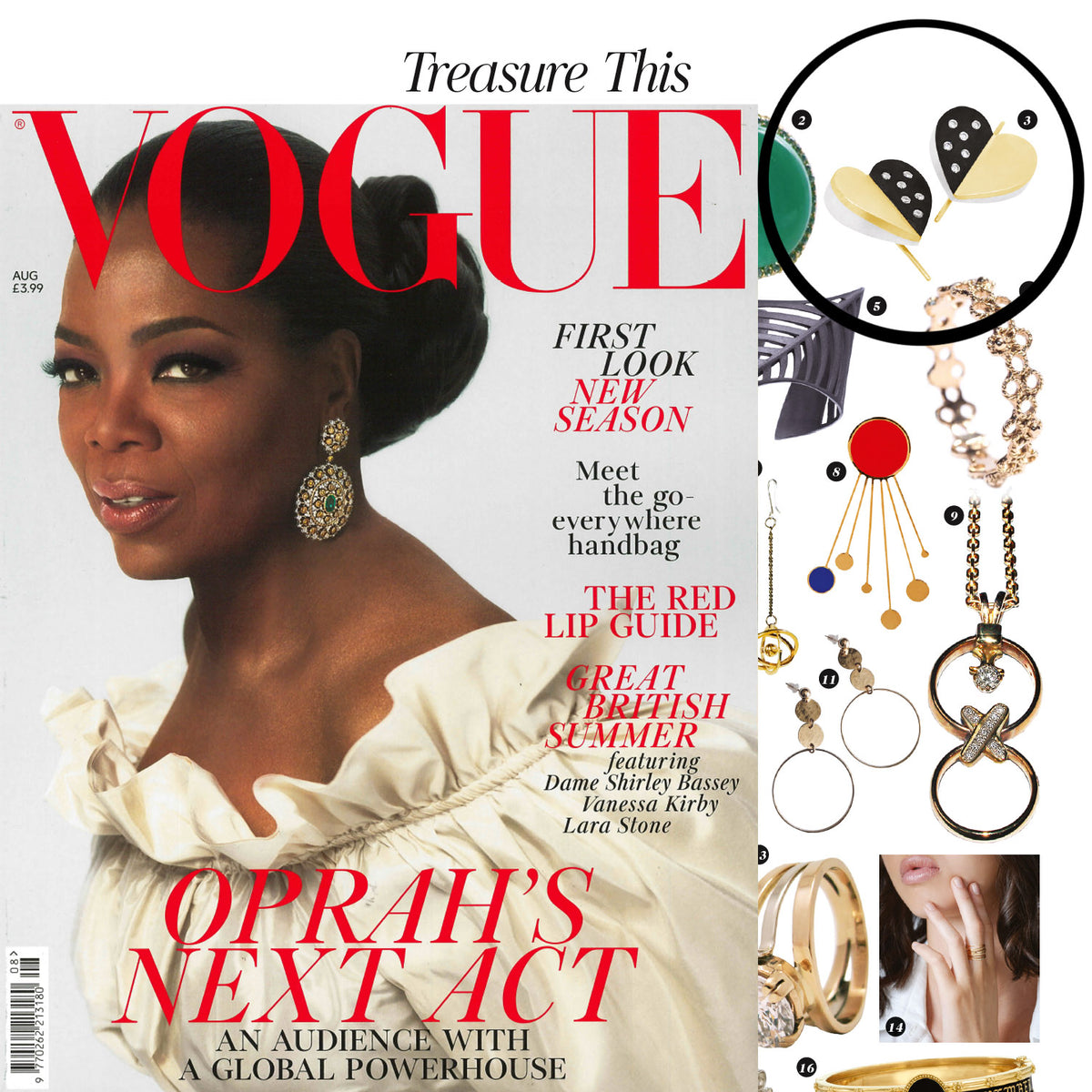 Diamond Sanguine Luxe Heart Drop Earrings Featured In August Issue Of British Vogue