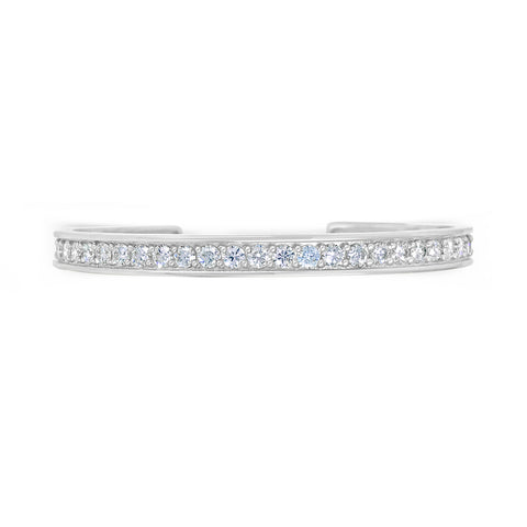 18k white gold and diamond open cuff bracelet