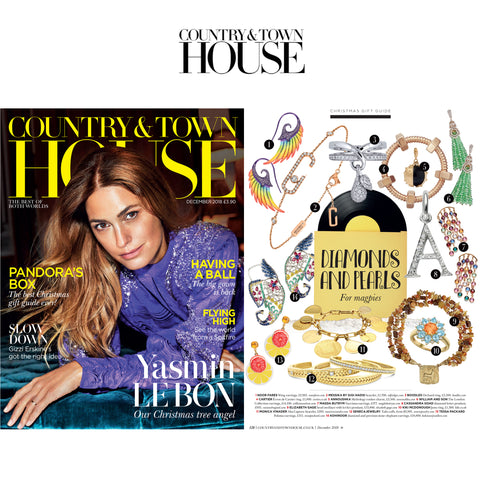 SENECA JEWELRY'S 18K GOLD TALIS CUFFS FEATURED IN DIAMONDS & PEARLS EDITORIAL COUNTRY & TOWN HOUSE MAGAZINE