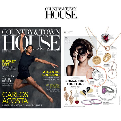 Country & Town House Magazine Editorial on Seneca Jewelry's Diamond Sanguine Luxe Heart Earrings
