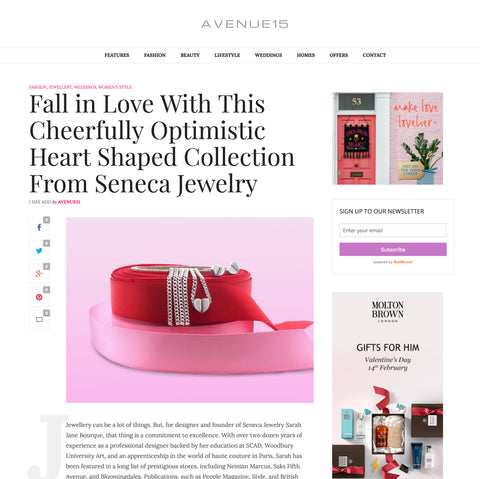 Avenue 15 Writes About Seneca Jewelry's Sanguine Hearts Collection