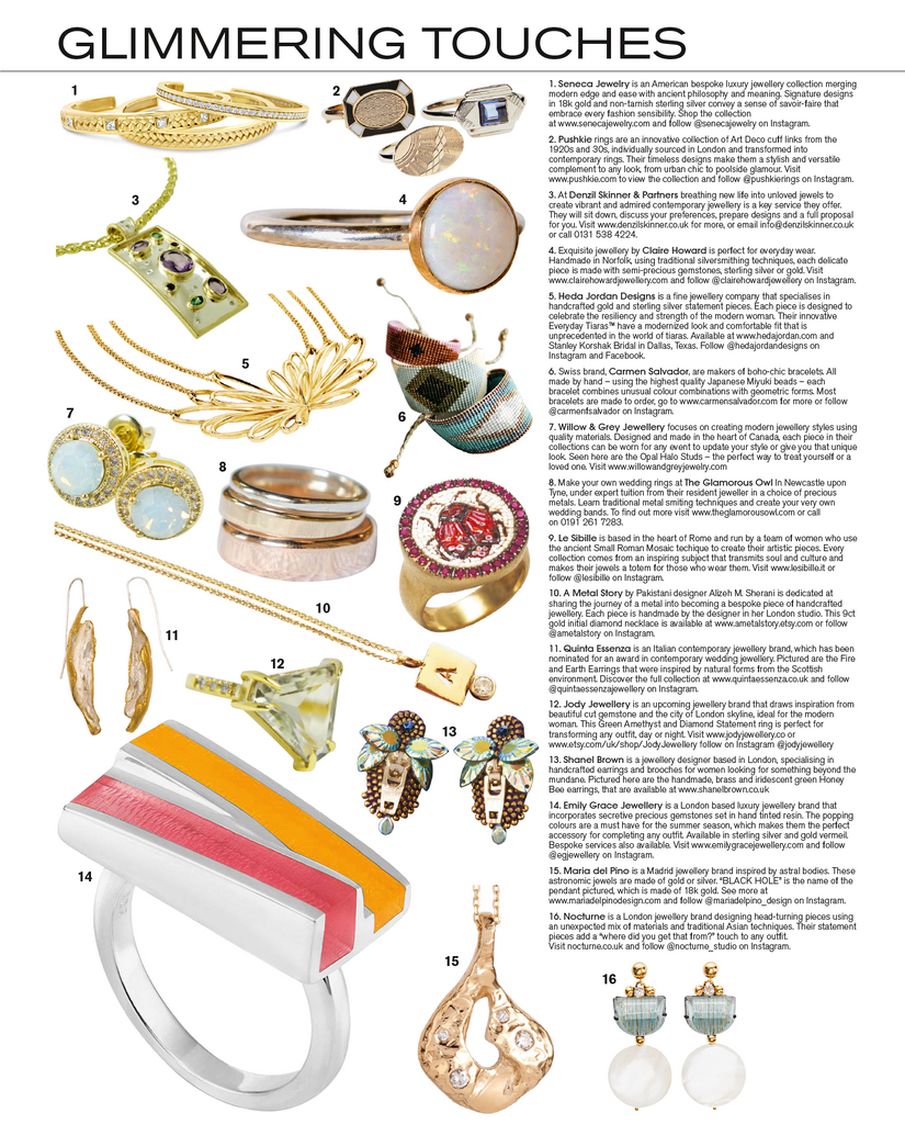 Tatler Magazine's GLIMMERING TOUCHES Page Features Seneca Jewelry