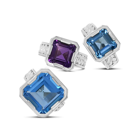 Trenza Noble Rings In London Blue Topaz and Royal Amethyst