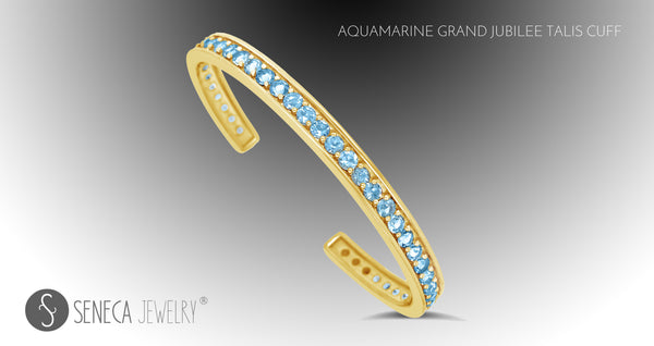Aquamarine Grand Jubilee Talis Cuff In 18k Gold From Seneca Jewelry