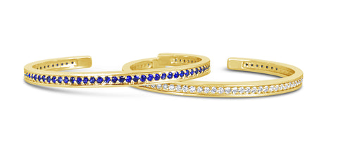 Pair of 18k Yellow Gold Blue Sapphire And Diamond Stacking Cuff Bracelets