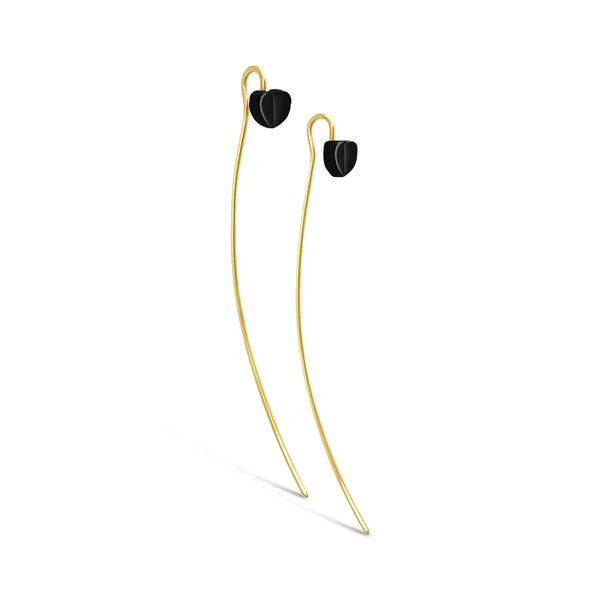 Sanguine Heart Wire Drop Earring / Nero Finish / Gold