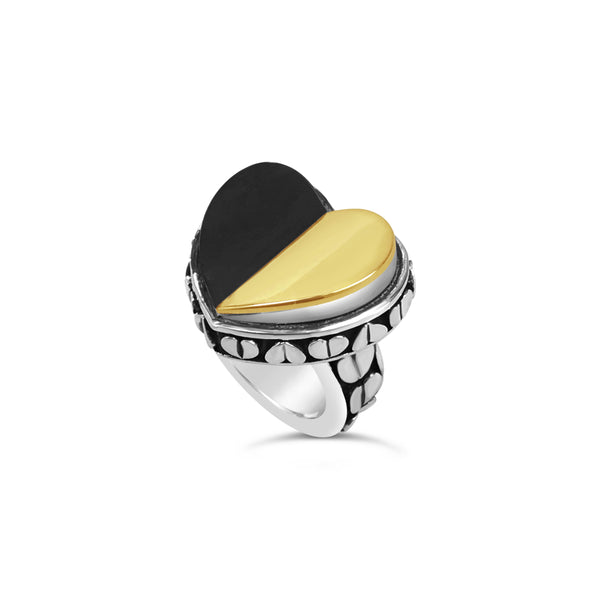 CONTEMPORARY BLACK AND GOLD HEART RING