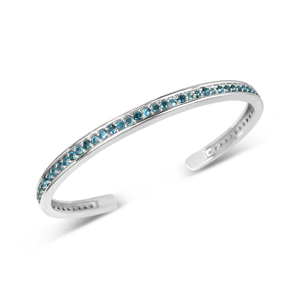 PAVE BLUE TOPAZ GEMSTONE CUFF IN STERLING SILVER IS SYMBOLIC OF COURAGE