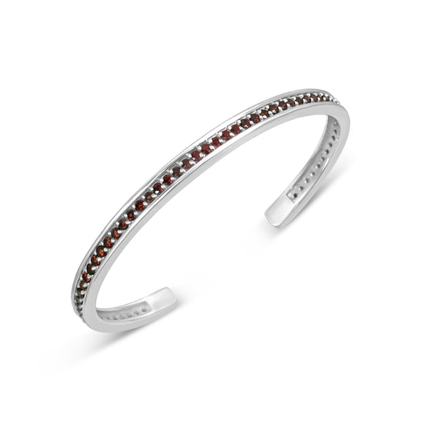 STERLING SILVER AND PAVE GARNET BIRTHSTONE CUFF BRACELET FOR JANUARY BIRTHDAYS