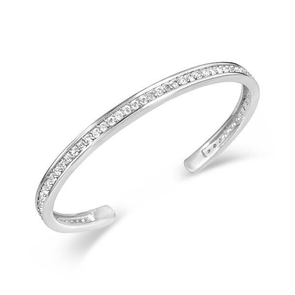STERLING SILVER AND PAVE DIAMOND CUFF BRACELET SYMBOLIZES LOVE