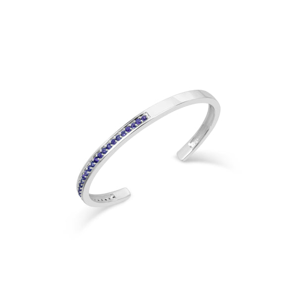 OPTIMISTIC AMETHYST GEMSTONES ALIGN THE SLEEK CONTEMPORARY SILVER CUFF BRACELET