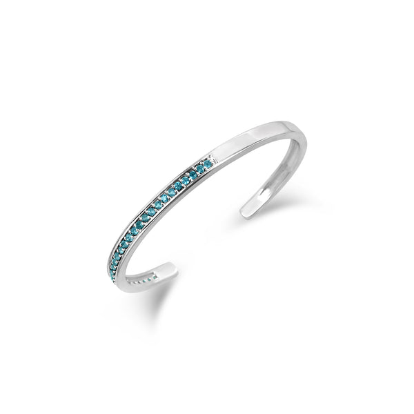 PAVE SET LONDON BLUE TOPAZ TALIS CUFF BRACELET SYMBOLIZES COURAGE