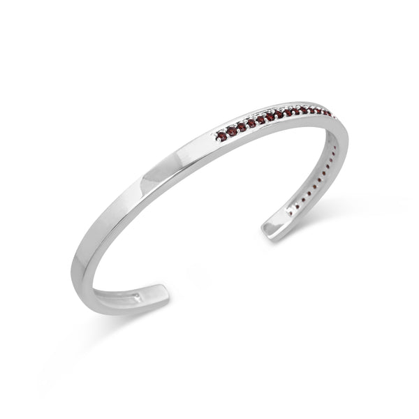 PRELUDE TALIS CUFF FRIENDSHIP BRACELET IN STERLING SILVER WITH HAND SET PAVE GARNETS