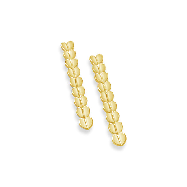 INSTYLE LINEAR DROP EARRINGS IN 18K GOLD WITH HEARTS