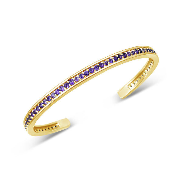 fine jewelry 18k gold bangle cuff with small amethyst stones
