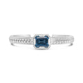 Large Emerald Cut Blue Topaz Herringbone Bracelet | Trenza Noble Grand Cuff