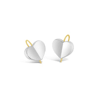 sterling silver love heart gold wire drop earring