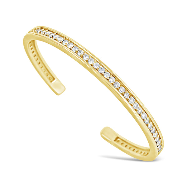 18k gold two carat diamond cuff split back cuff bracelet