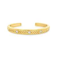 18k gold princess cut diamond basket weave cuff bracelet