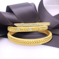 18k yellow gold and diamond herringbone weave bracelet cuff stack