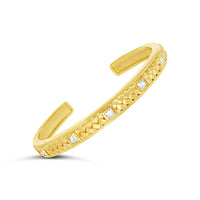 18k gold square cut diamond bangle bracelet with woven braid design