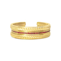 narrow ruby bangle bracelet with 18k gold woven herringbone cuff bracelets